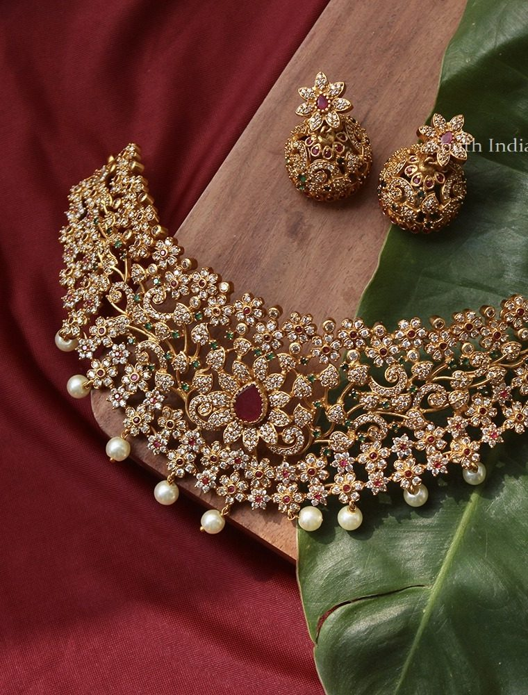 Bridal Multi Stone Floral Design Choker (2)