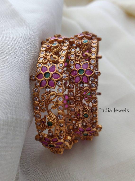 Bridal Peacock Design AD Bangles
