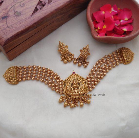 Classic Golden Beads Lakshmi Matte Choker