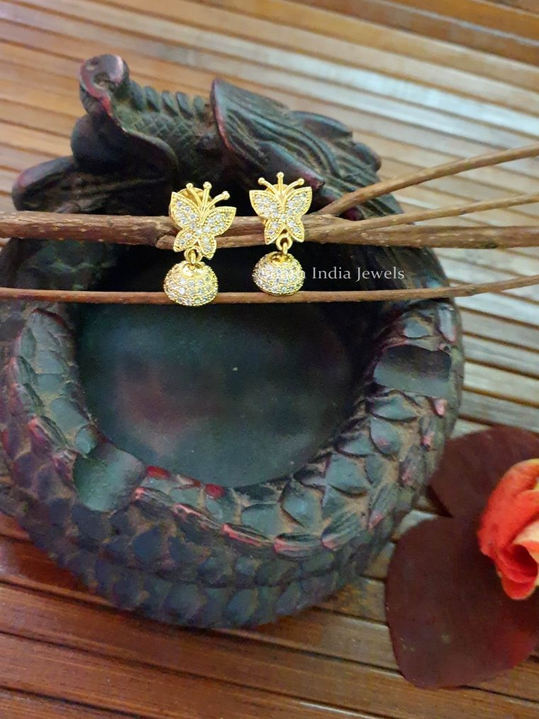 Cute Butterfly White Stone Jhumka (2)