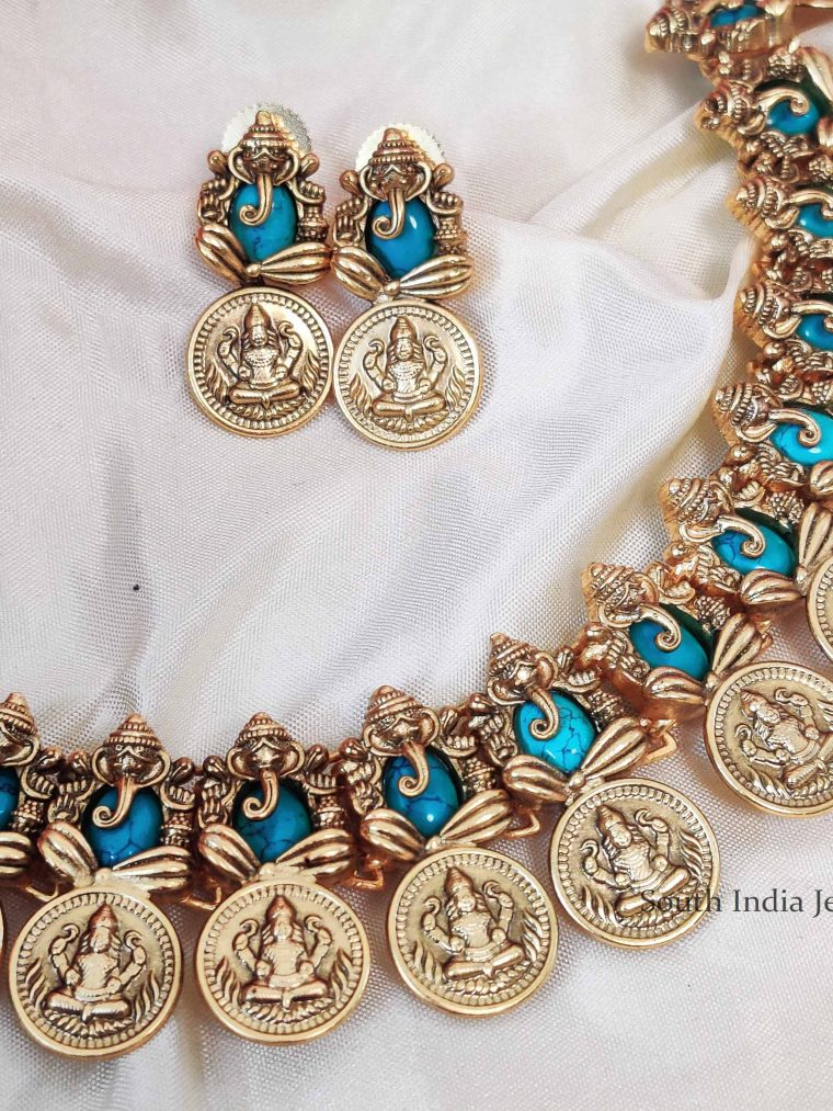 Cute Lakshmi Ganesh Blue Color Necklace (2)