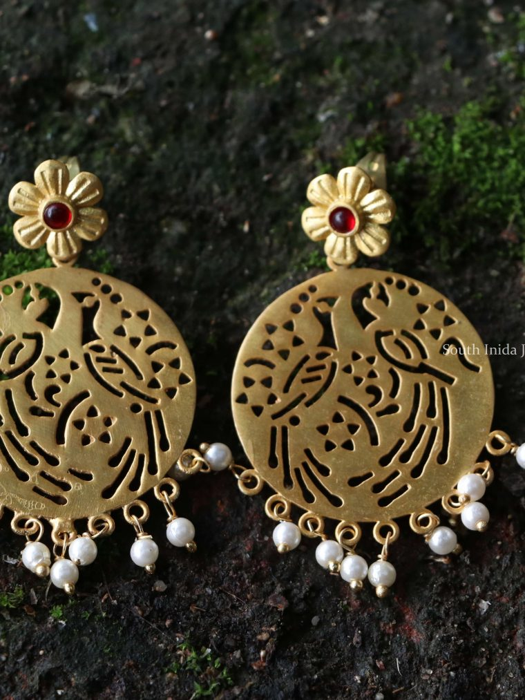 Elegant Gold Finish Floral Earrings