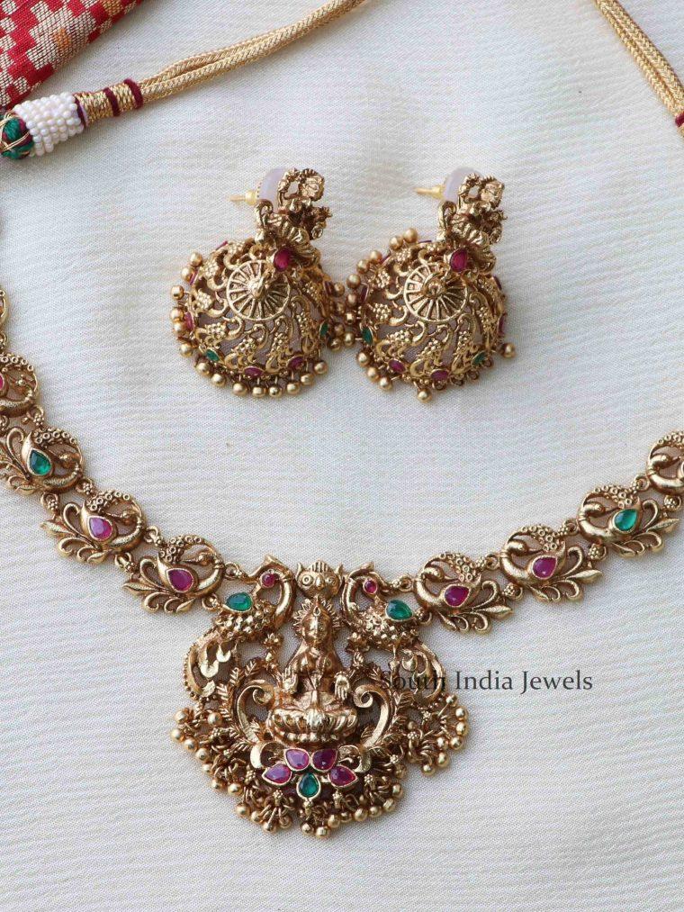 Elegant Gold Finish Lakshmi Necklace