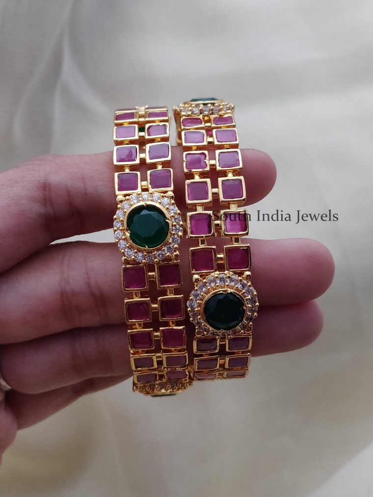 Elegant Red and Green AD Bangles (2)