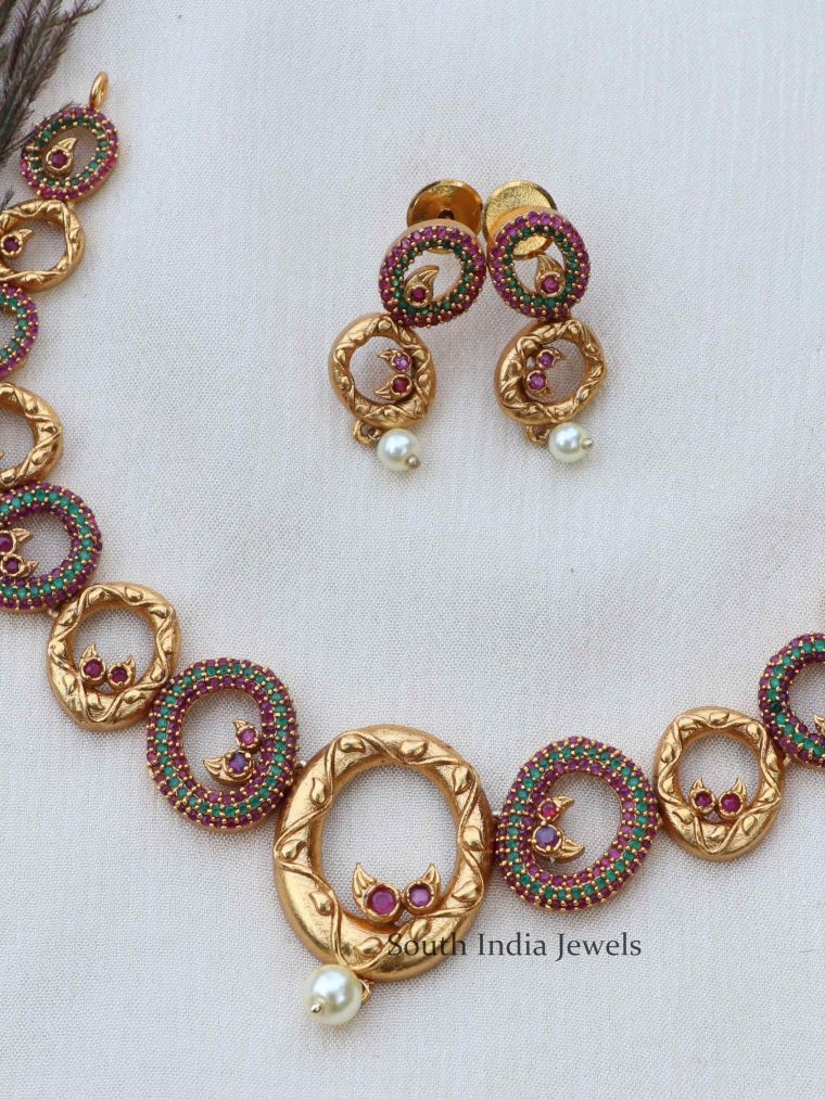 Fancy Pink & Green Stone Necklace (2)