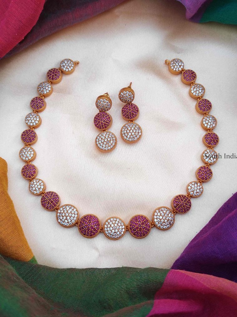 Fancy Pink & White Stone Necklace (2)