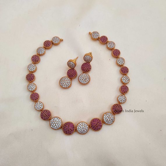 Fancy Pink & White Stone Necklace
