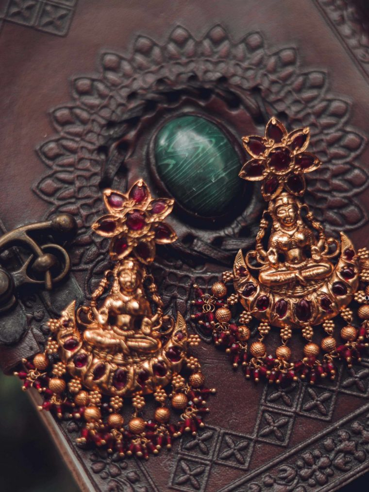 Flower Design Ruby Stone Temple Earrings