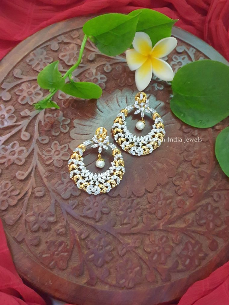 Gorgeous CZ Stone Chandbali Earrings