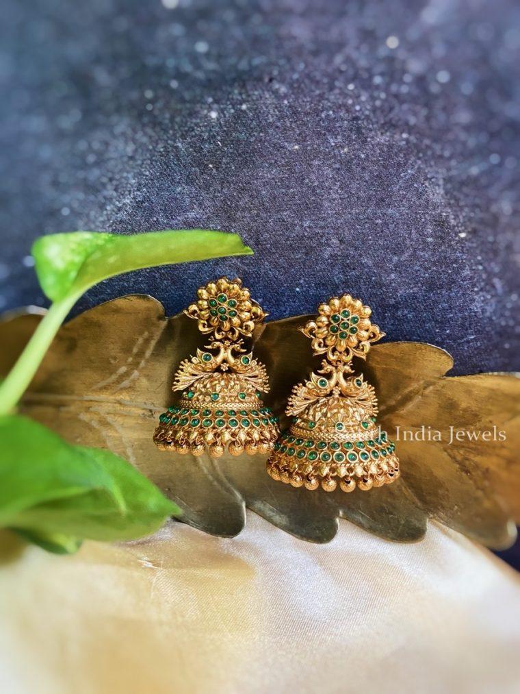 Gorgeous Green Stone Peacock Jhumka