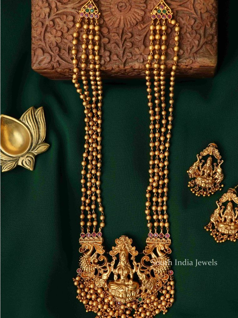 Gorgeous Lakshmi Gold Beads Haram (2)