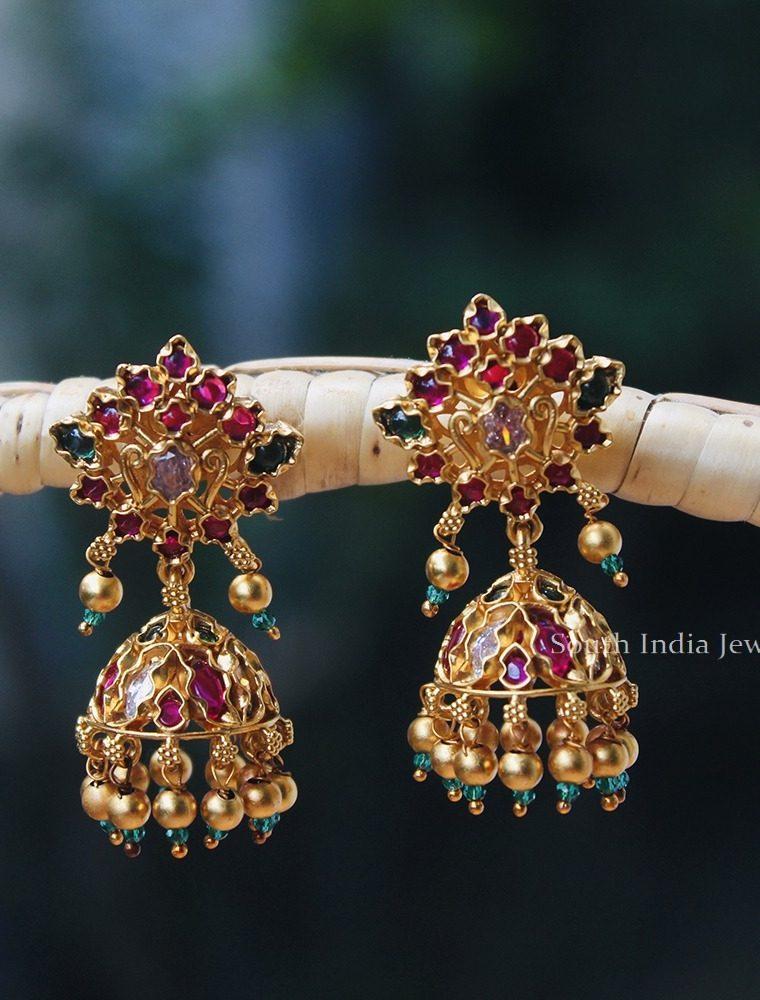 Gorgeous Multi Stone Kemp Jhumka