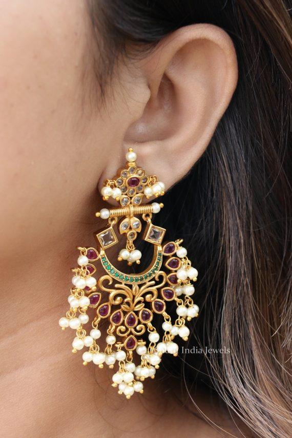 Gorgeous Pearl Cluster Earrings-03