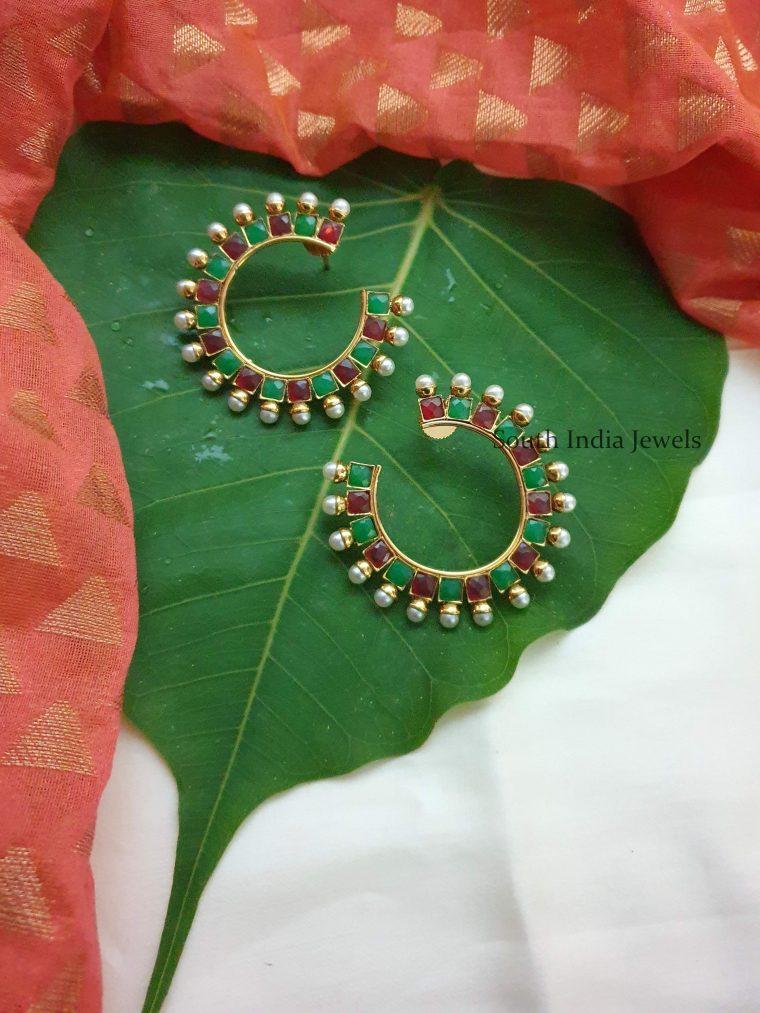 Gorgeous Ruby Emerald Ear Studs