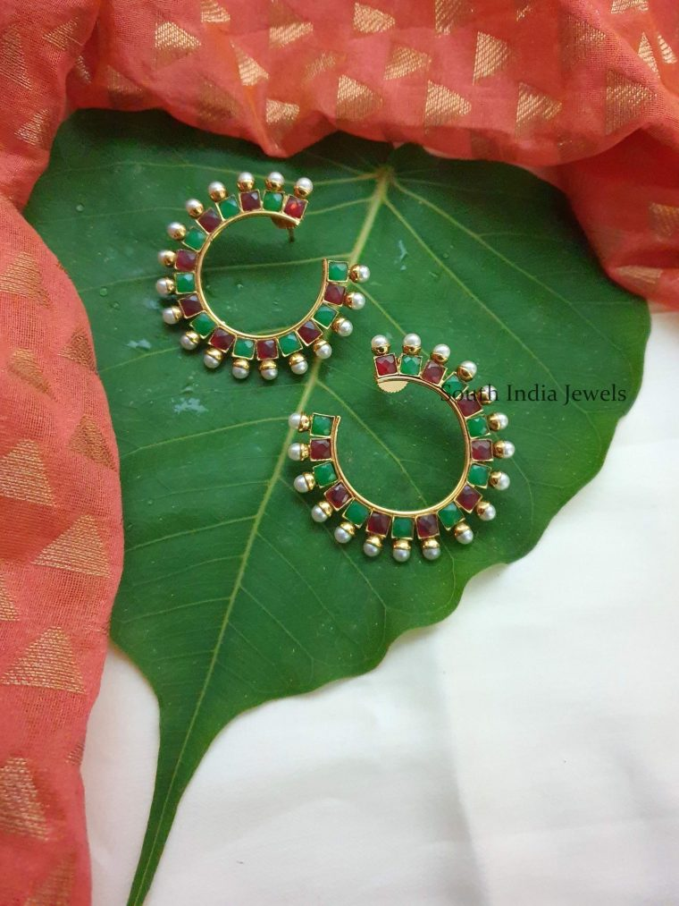 Gorgeous Ruby Emerald Ear Studs