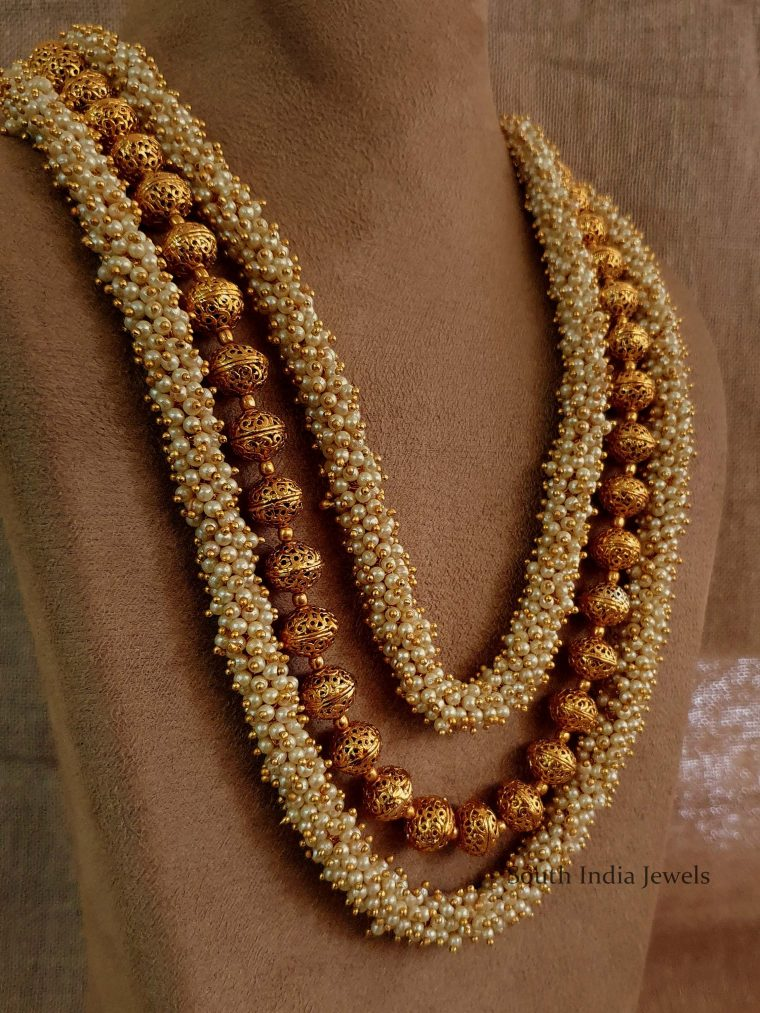 Gorgeous Three Layer Pearl Bunch Mala