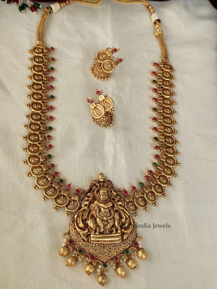 Grand Gokula Krishna Pendant Lakshmi Coin Haram
