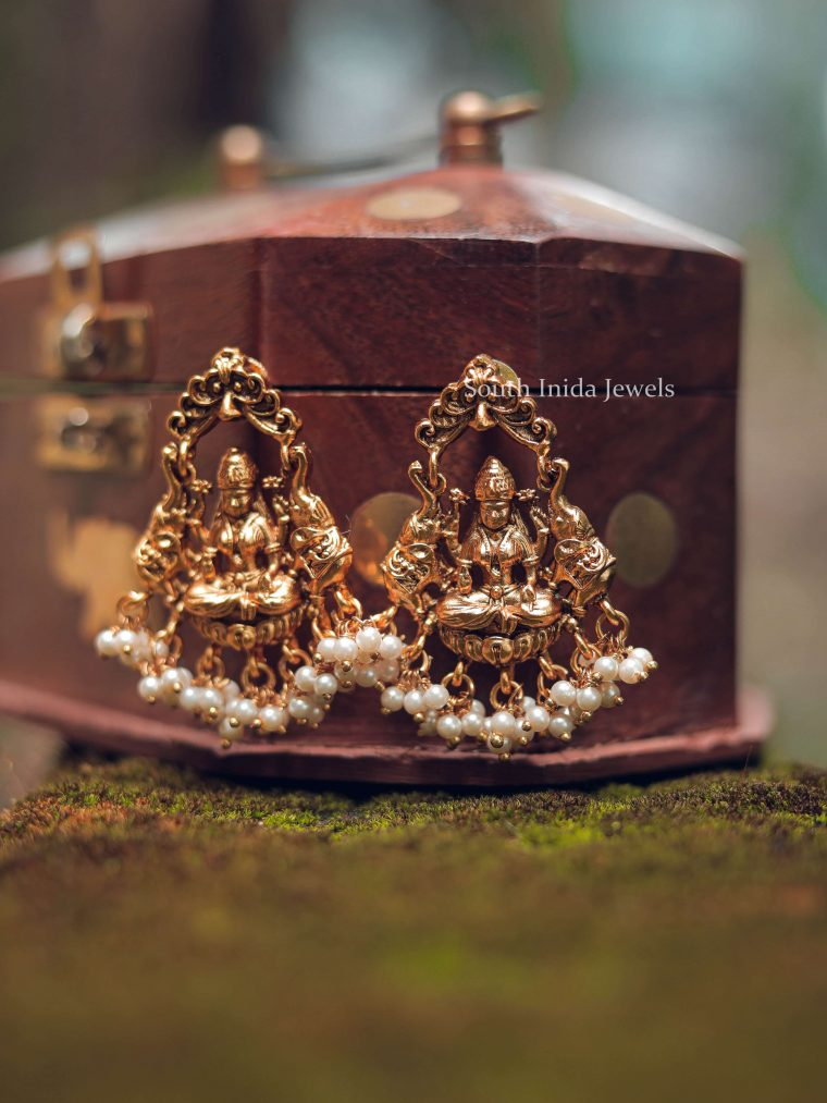 Grand Lakshmi Design Pearl Drop Earrings