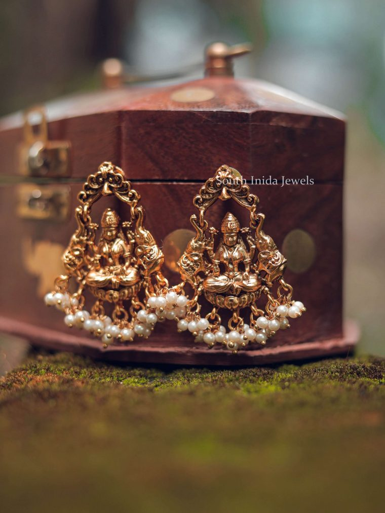 Grand Lakshmi Design Pearl Drop Earrings