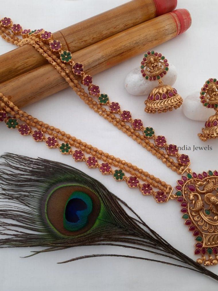 Grand Matte Finish Lakshmi Pendant Kemp Stone Haram