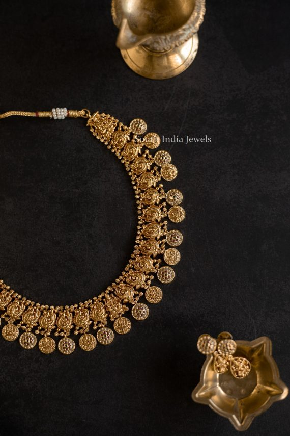 Grand Peacock Lakshmi Coin Short and Long Necklace