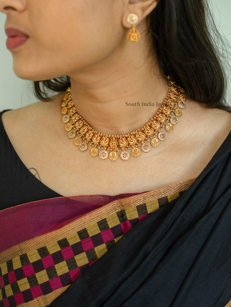 Grand Peacock Lakshmi Coin Short and Long Necklace (2)
