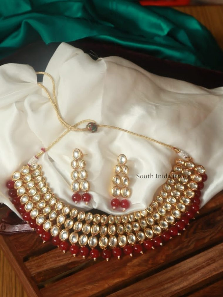 Grand Red & White Kundan Choker Set