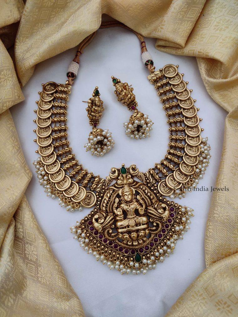 Grand Temple Lakshmi Pearl Necklace-01