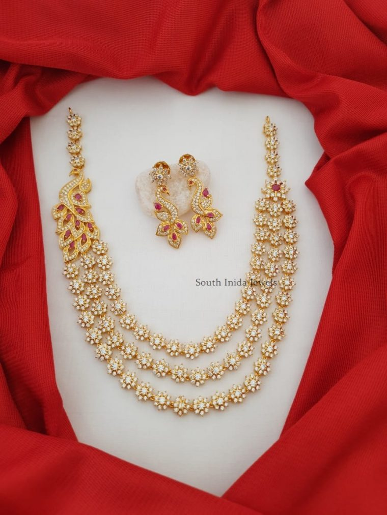 Grand Three Layer CZ Stone Floral Necklace