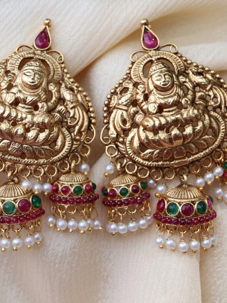 Grand Triple Jhumka Lakshmi Earrings
