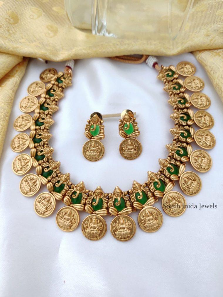 Green Ganesha and Lakshmi Coin Necklace