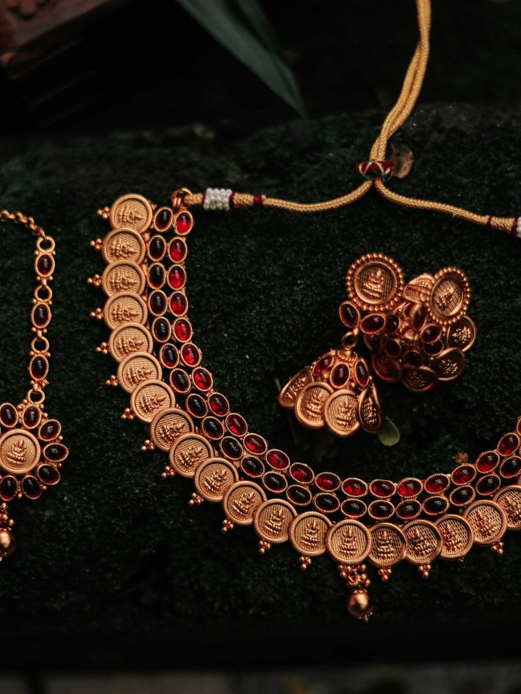 Lakshmi Coin Necklace Set With Maang Tikka