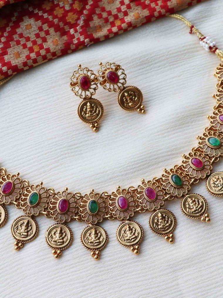 Matte Finish Lakshmi Coin Necklace-01