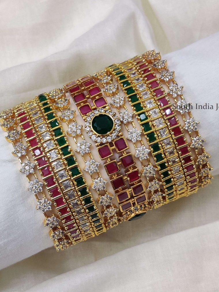Mesmerizing Multi Stone Bangle Set (3)