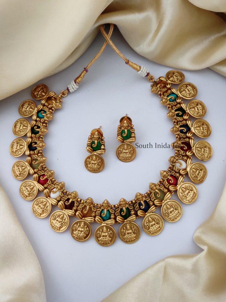 Navarathna Ganesha and Lakshmi Coin Necklace