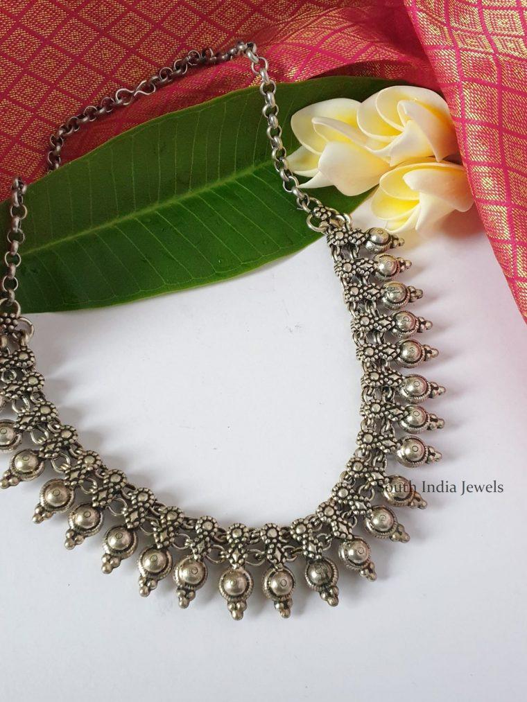 Premium Floral German Silver Necklace-01