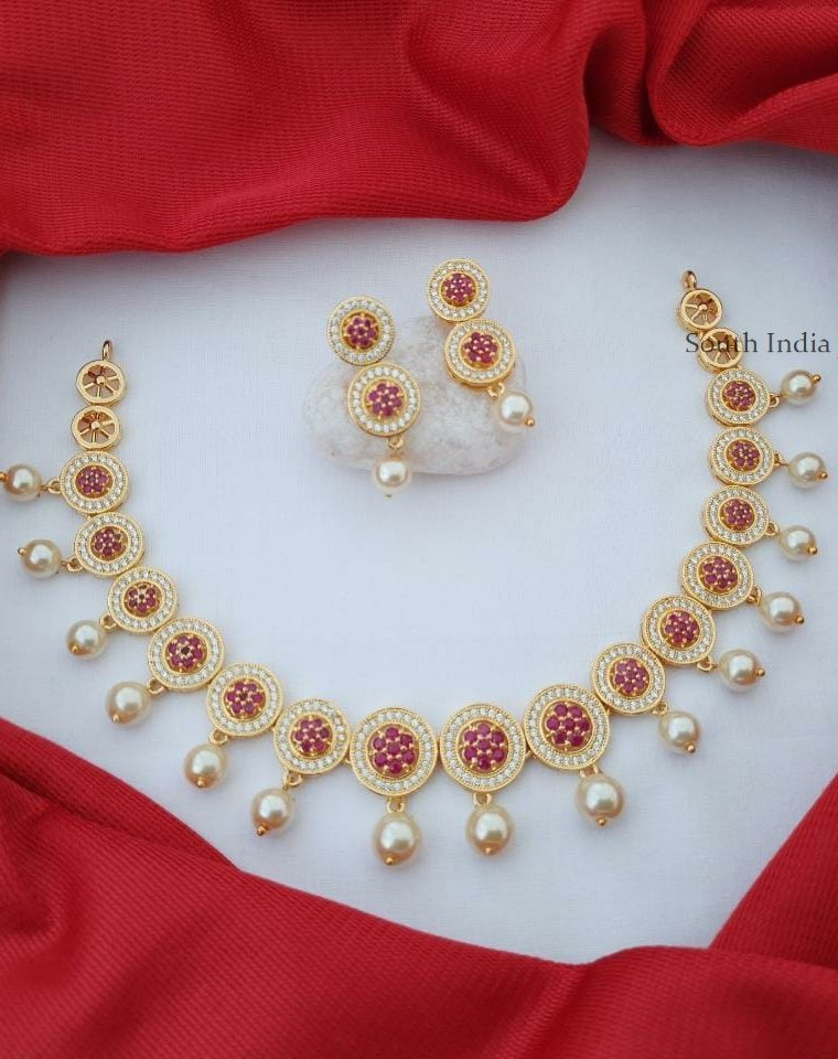 Pretty CZ Stone Pearl Drop Necklace