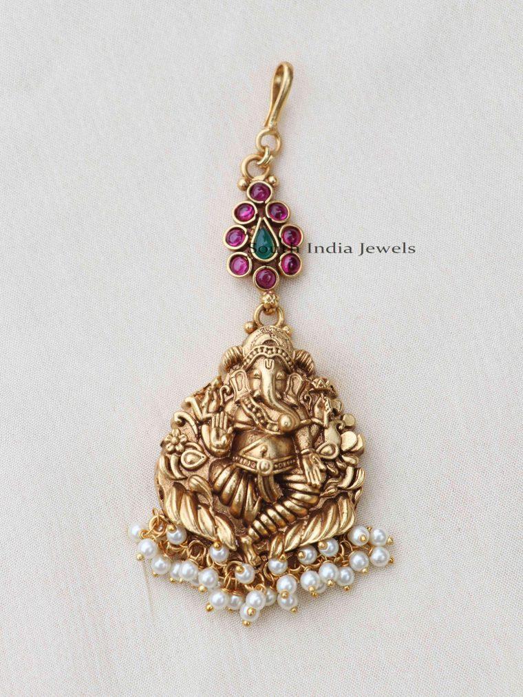 Pretty Ganesh Pearl Cluster Maang Tikka (2)