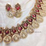 Pretty Lakshmi Ganesh Pink Stone Necklace (2)