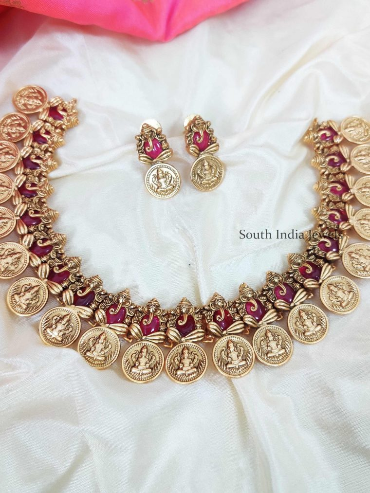 Pretty Lakshmi Ganesh Pink Stone Necklace