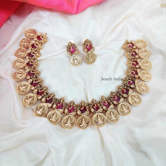 Pretty Lakshmi Ganesh Pink Stone Necklace