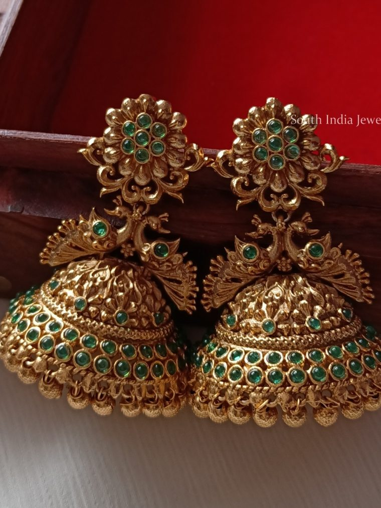 Pretty Peacock Green Jhumkas