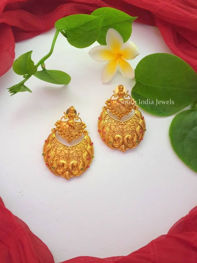Simple Matte Finish Chandbali Earrings