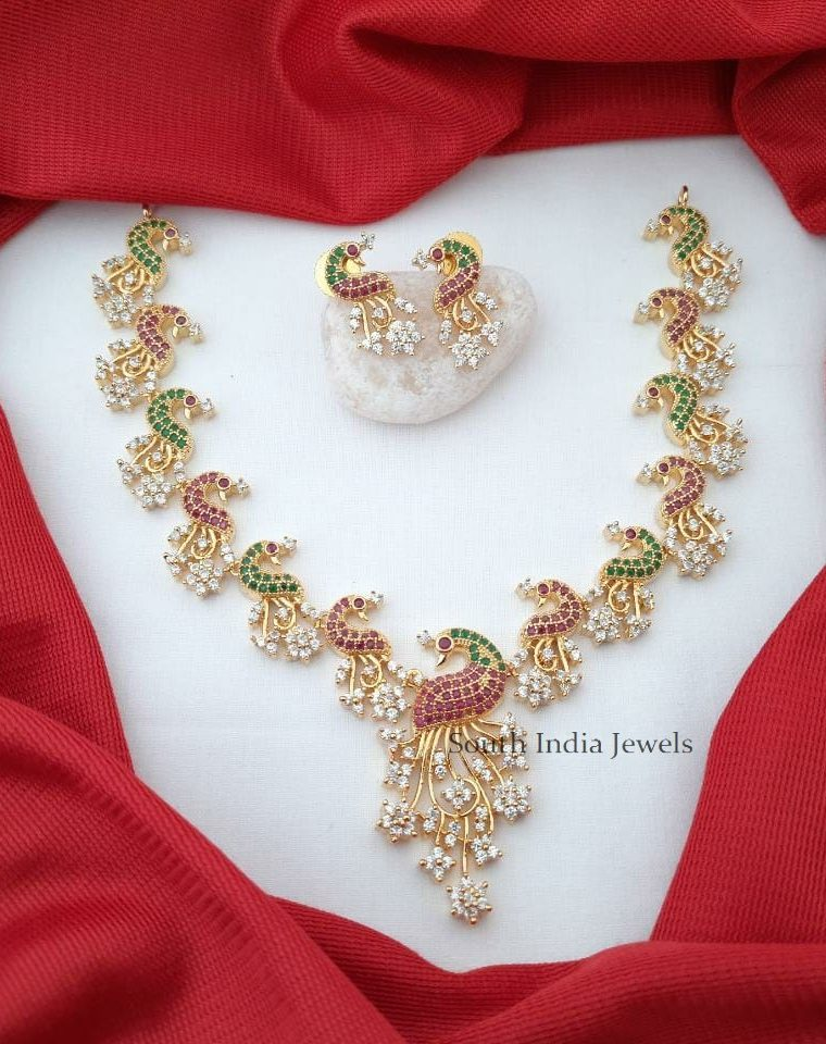 Stunning CZ Stone Peacock Necklace