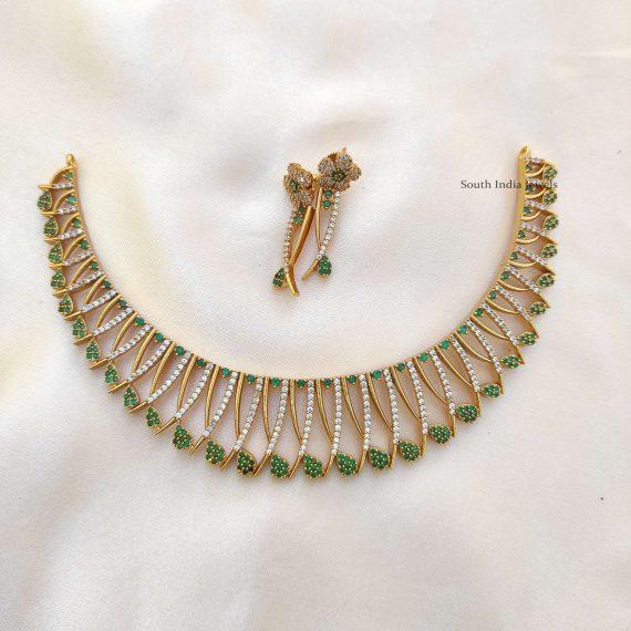 Traditional Green Mallu Design Necklace