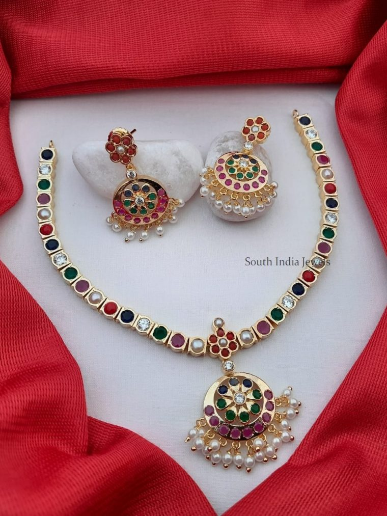 Traditional Navarathna Stone Attigai Necklace