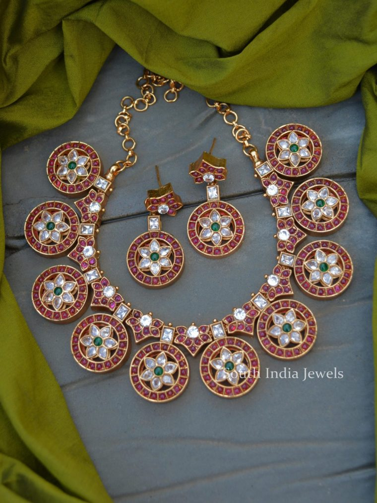 Traditional Red and White Stone Coin Necklace