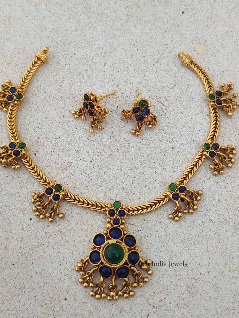 Trendy Blue & Green Stone Attigai Necklace Set