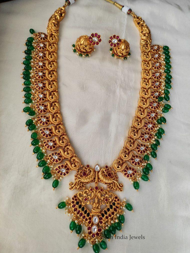 Trendy Green Beads Long Haram