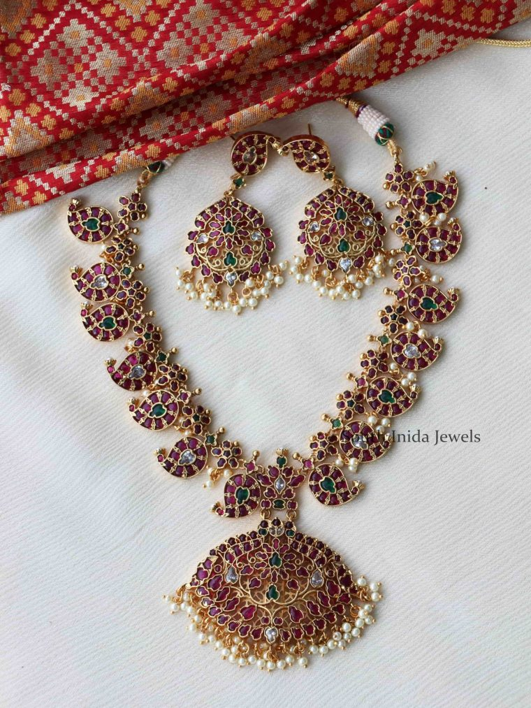 Trendy Kemp & Ruby Green Mango Necklace